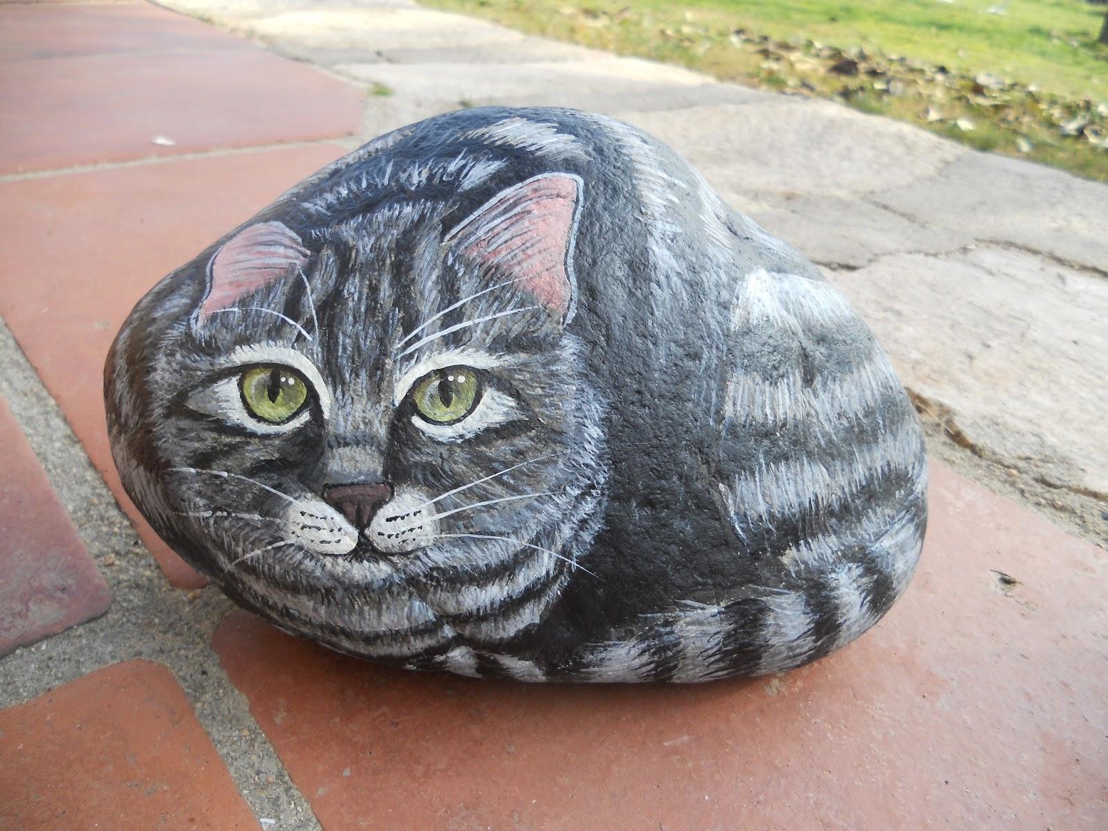 Piedras pintadas a mano piedras pintadas gatos - Dibujos de gatos pintados ...