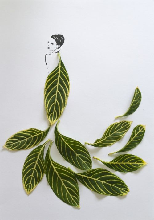 Tang Chiew Ling illustrations design fashion lyrical leaf leaves nature Fashion in Leaf - Attractive