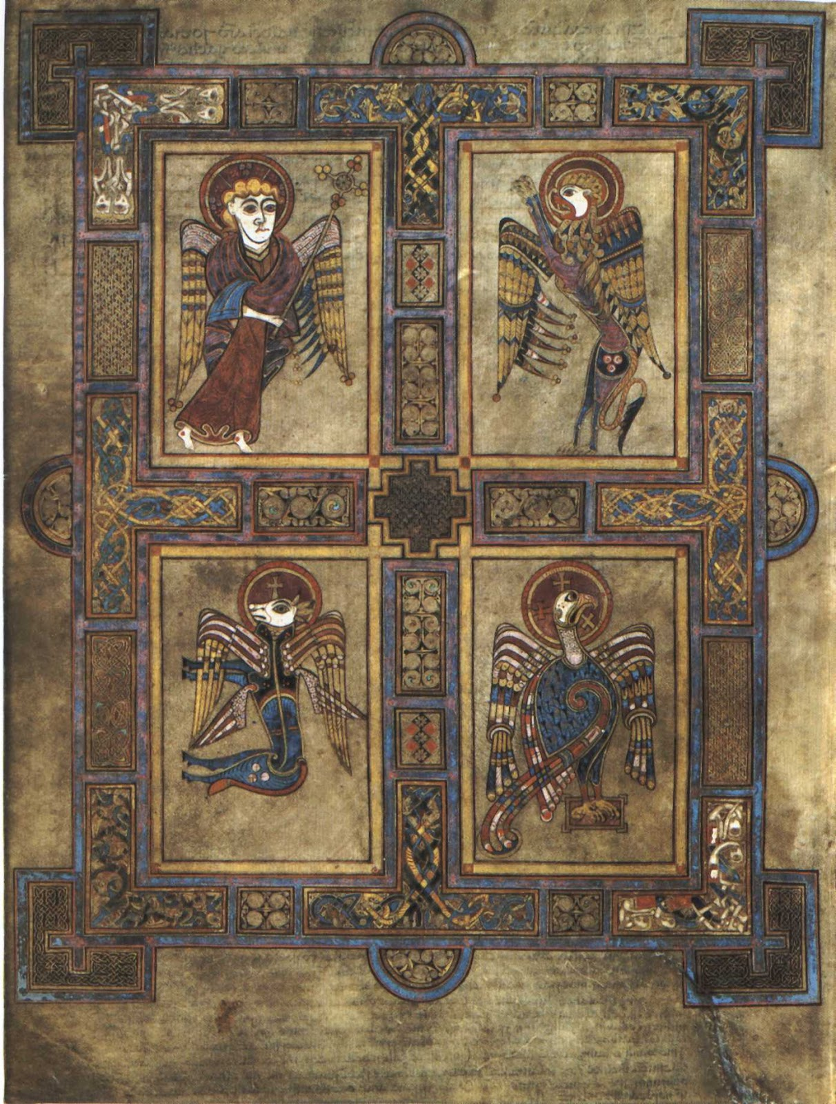 Art history group carolingian iconography in religious art the symbols of the four evangelists are here depicted in the book of kells buycottarizona Choice Image