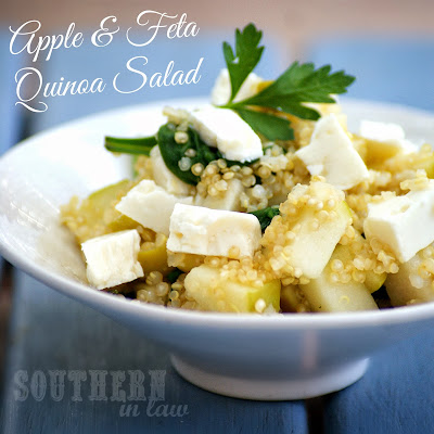 Warm Apple and Feta Quinoa Pilaf with fresh Basil and Parsley