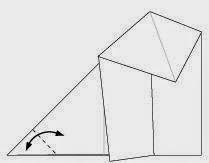 Bước 4: Gấp chéo góc tờ giấy để tạo nếp gấp, sau đó mở ra.
