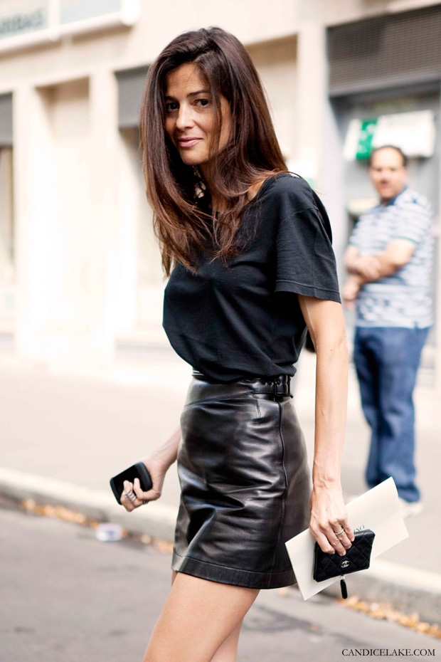 stunning black leather skirt outfit 8