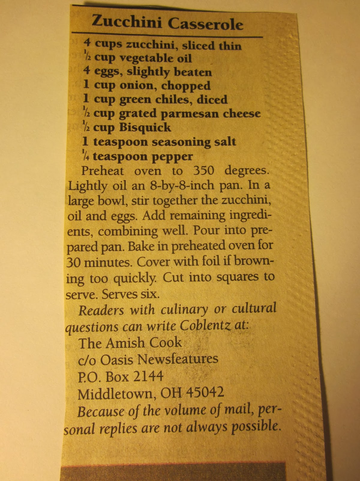 amish zucchini casserole