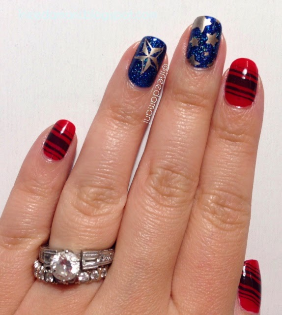 red white blue stars and stripes nail stamping nails