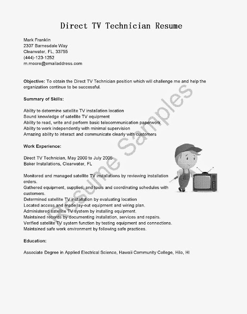 resume samples direct tv technician resume sampleuse this free sample direct tv technician resume with objective skills responsibilities to write your - Directv Technician Resume Sample