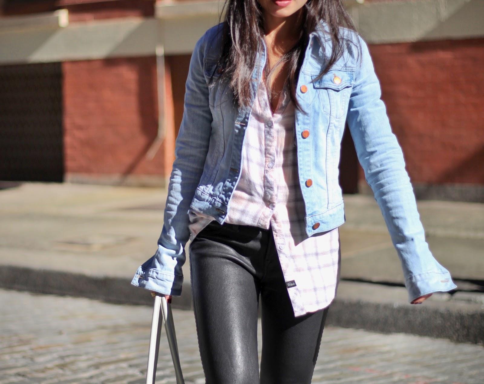 J Brand leather pants denim jacket Rails plaid shirt Tibi Denni loafer