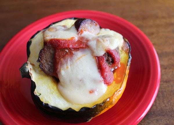 stuffed acorn squash with meatballs