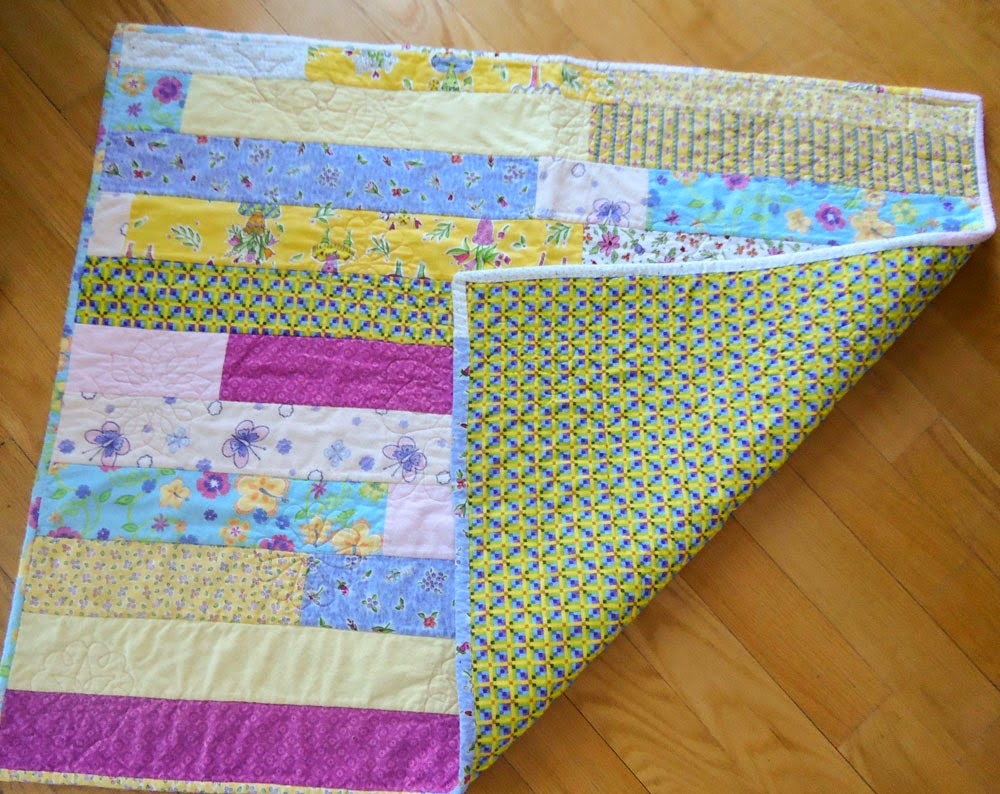 Front and back of the QAYG quilt