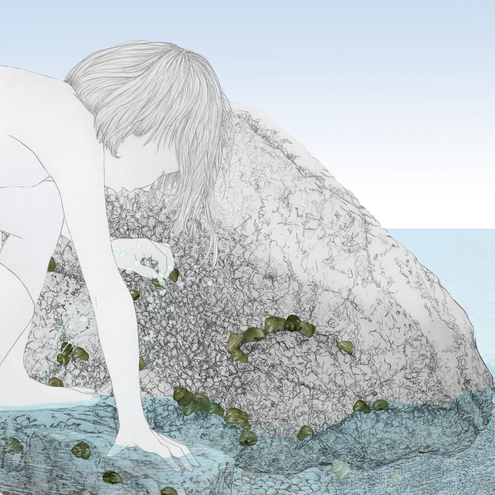 niña, entre rocas, a la orilla del mar, dibujo