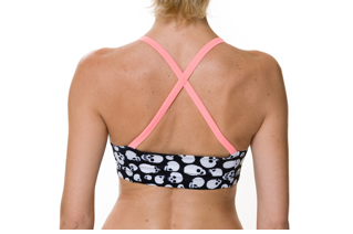 Style Athletics Onzie Activewear The Amazing Sports Bra Pink Salmon Skulls