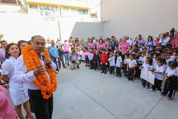 Cumple gobernador compromiso; inaugura nuevos edificios en Jardín de Niños Leonor López Orellana