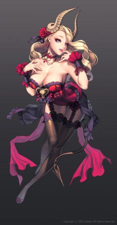 Gwon Yun Jeong lovecacao ilustrações fantasia mulheres lindas sensuais Lucifer