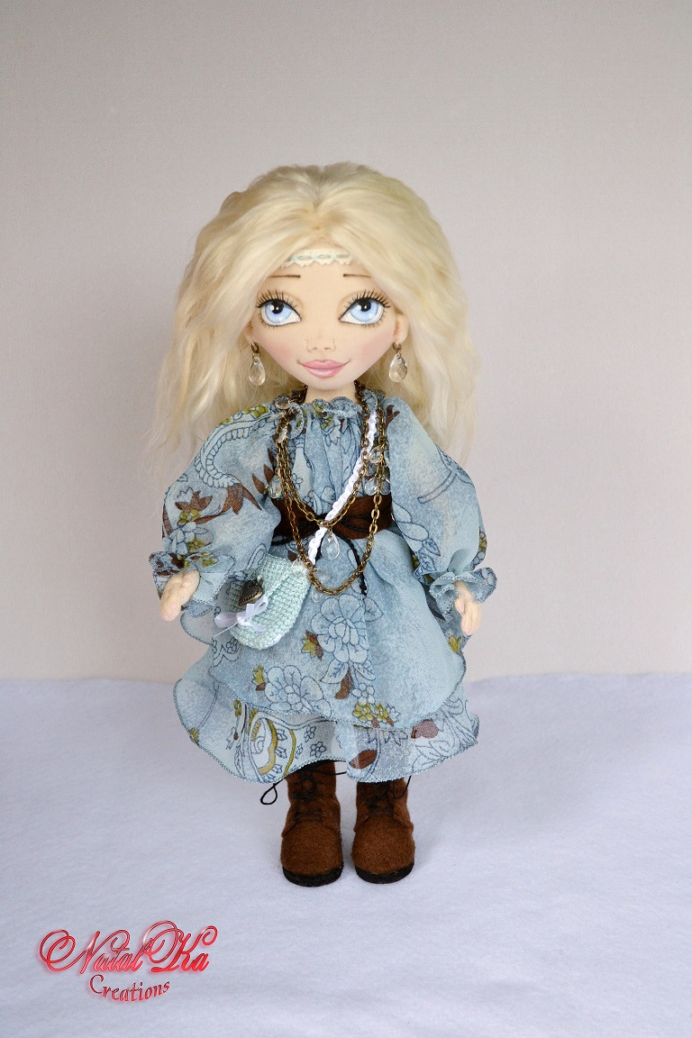 Cloth art rag fabric doll. Boho. Hippie