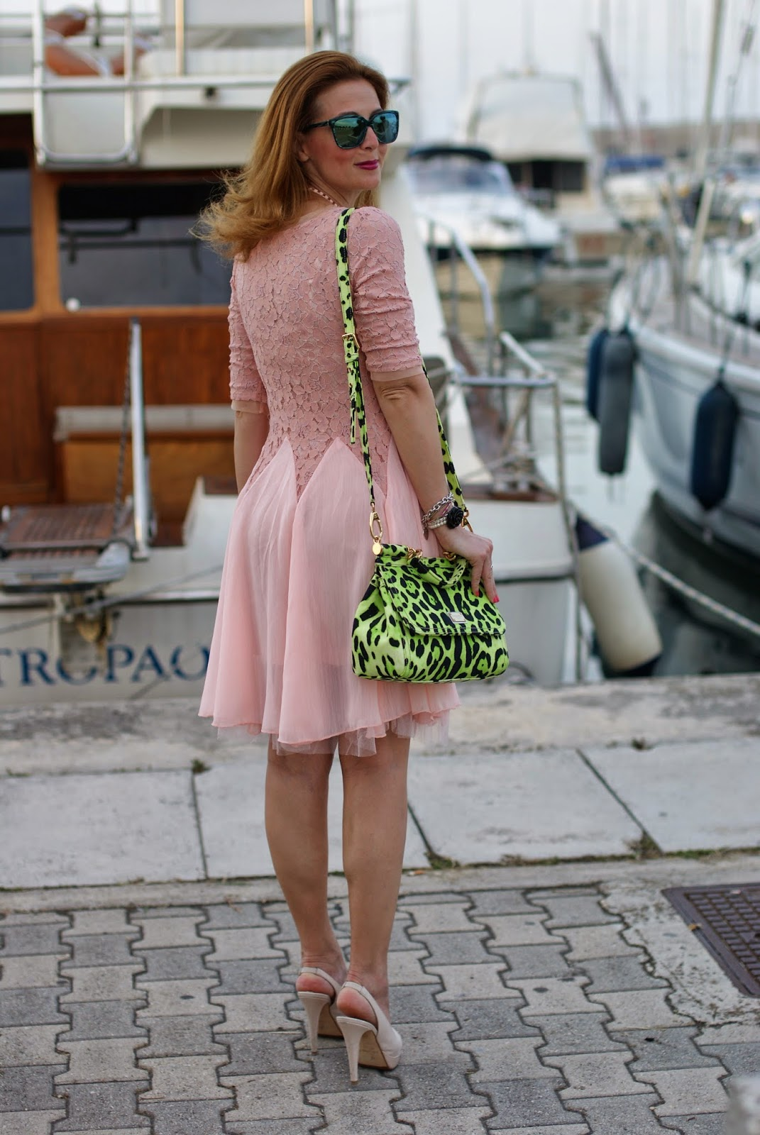 lace and veil dress, HYPE GLASS,  pink dress, Miss Sicily green bag, Fashion and Cookies, fashion blogger