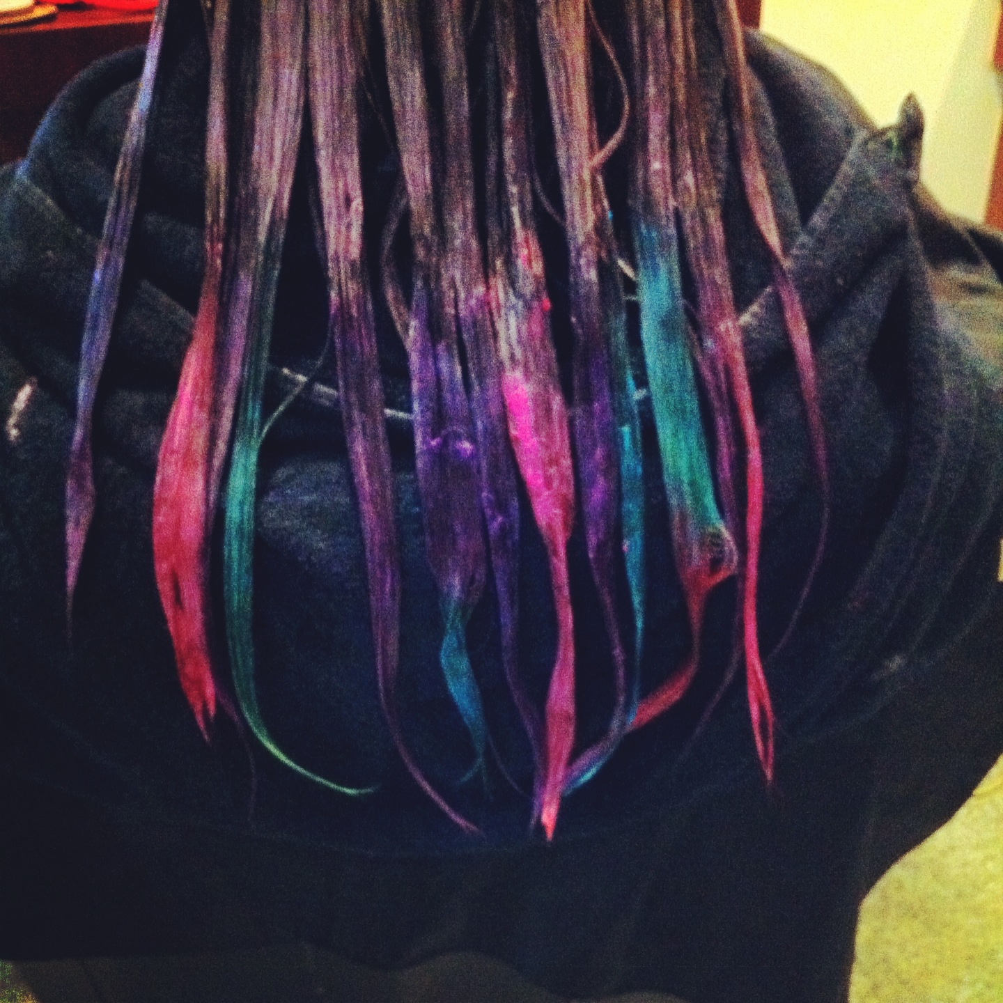 Black Hair With Purple Ends Ends with hot pink, purple