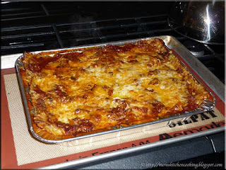 smallest tray of lasagna freshly baked