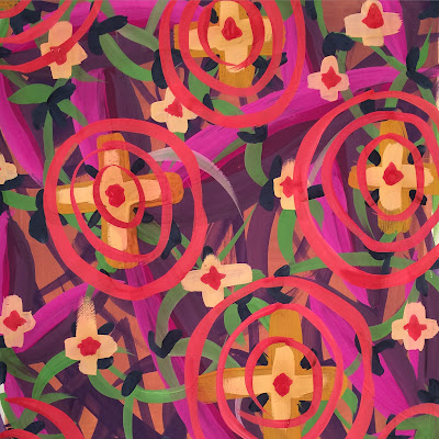 Ali Amaro, freeform vibrant colors floral geometric pattern in gouache