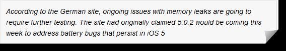 Delay Release Of iOS 5.0.2