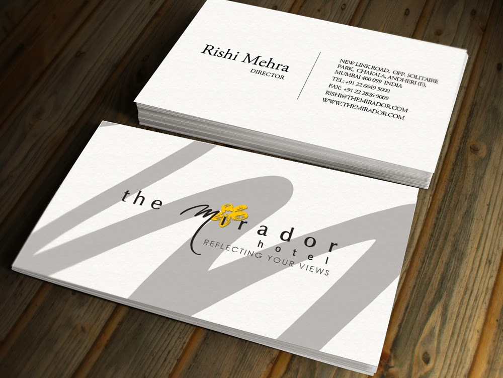 Kreative quest mirador hotel business card options proposed business card designs for mirador hotel mumbais first luxury designer hotel reheart Choice Image