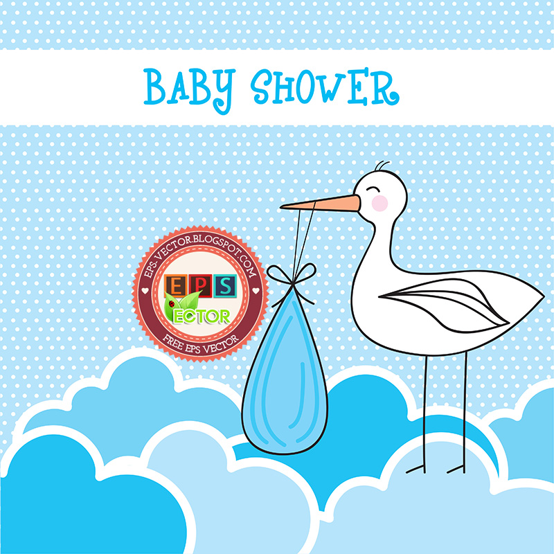 Baby Shower Card Vector ~ Vector baby shower card eps