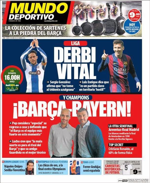 Portada Mundo Deportivo (sábado, 25 de abril)