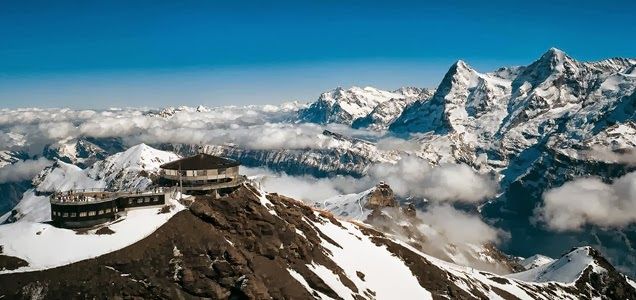 Piz Gloria, Schilthorn, Switzerland - 12 Stunning Photos of Places Decorated with the Most Beautiful Element Water in Solid State