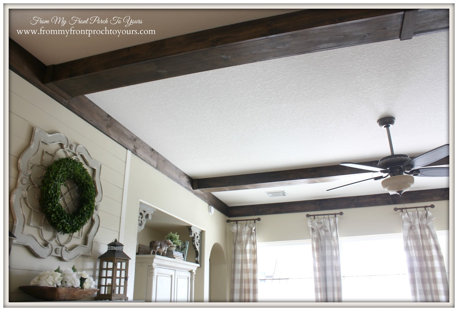 DIY Wood Beams perfect for adding a rustic french country feel to a space.- From My Front Porch To Yours