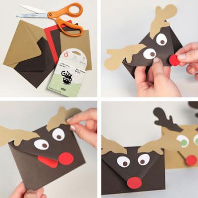 Envelopes de papel decorados com renas