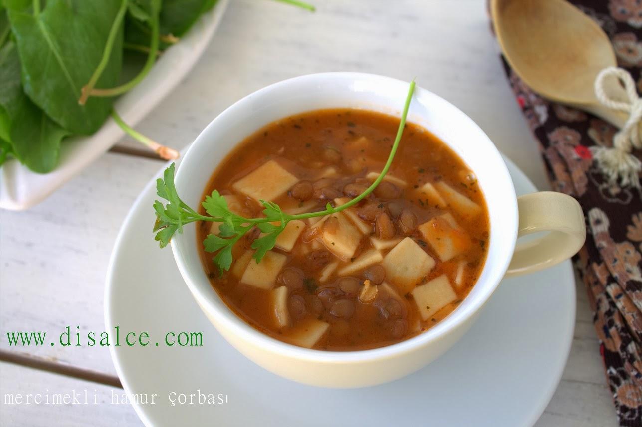mercimekli ve kare hamur çorbası