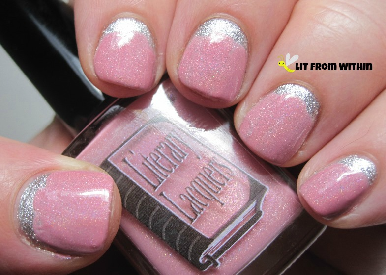 Literary Lacquers Strawberry Ice Cream Soma, a soft baby pink with a subtle scattered holo