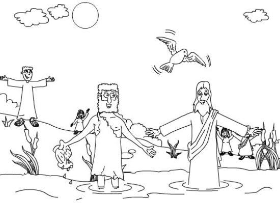 Juan el Bautista bautiza a Jesus para colorear ~ Dibujos Cristianos ...