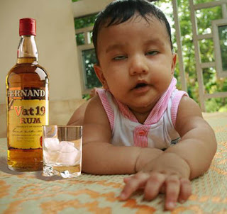 child probably drinking rum