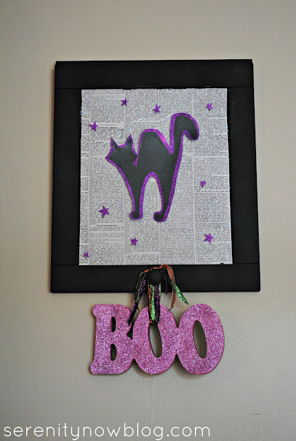 Halloween Sign with Sparkle Mod Podge, Serenity Now blog
