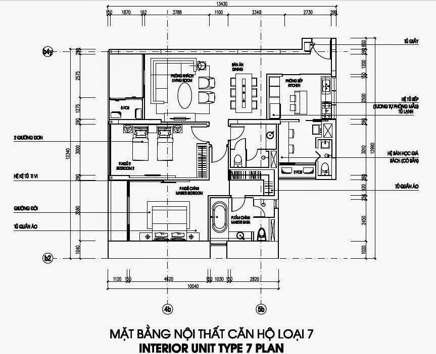 Bản vẽ thiết kế căn hộ CH7 - 138m2 Chung cư Dolphin Plaza