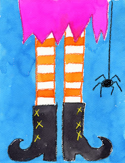 Witch's Feet water coloring by artprojectsforkids.org