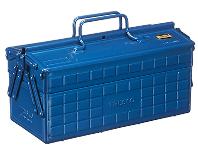 metal tool box, blue