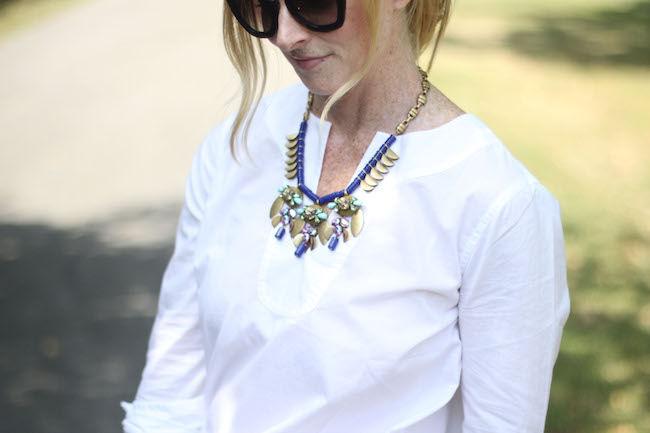 prada sunglasses, jcrew statement necklace, jcrew white tunic