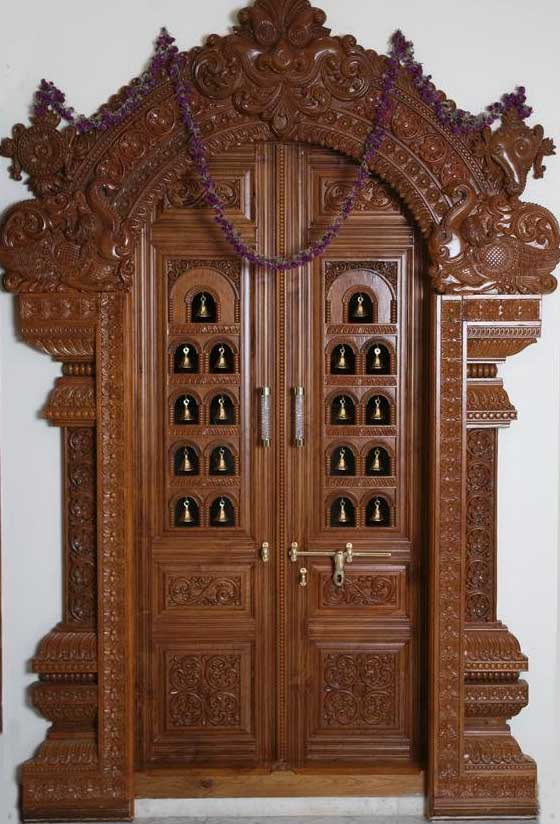 Latest pooja room door frame and door design gallery for Wood door design latest