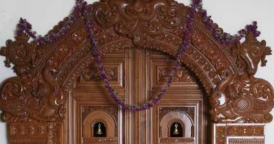 Latest pooja room door frame and door design gallery - Pooja room door designs in kerala ...