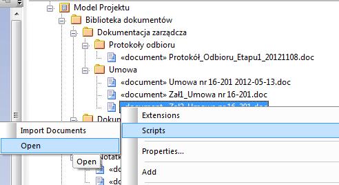 wywołanie skryptu otwierającego dokument z zewnętrznej lokalizacji