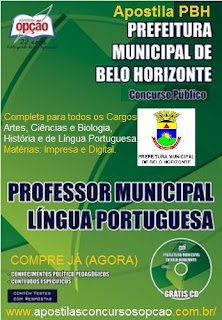 Apostila Prefeitura de BH Professor Municipal Minas Gerais-MG.