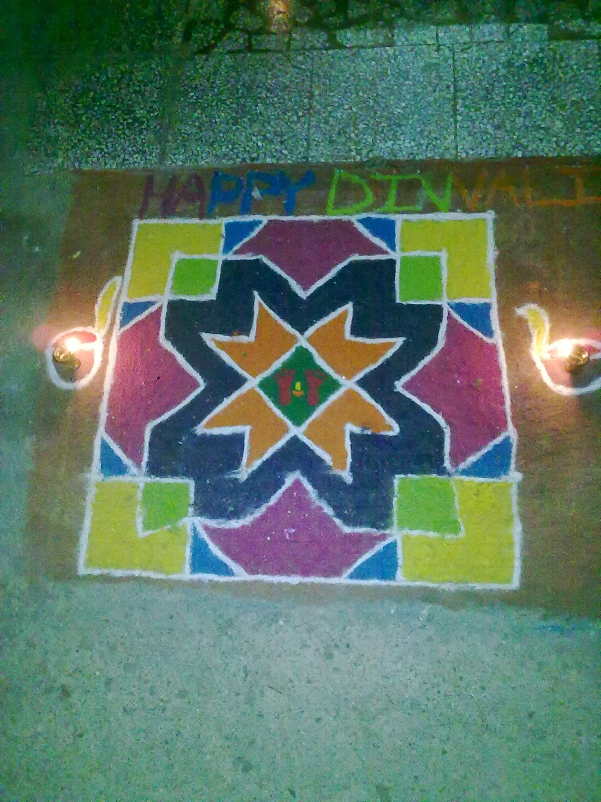 nature elements theme on rangoli