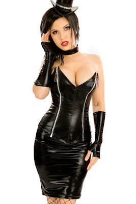Sexy 4 Piece Fetish Fantasy Bustier, Skirt, Gloves, and Collar