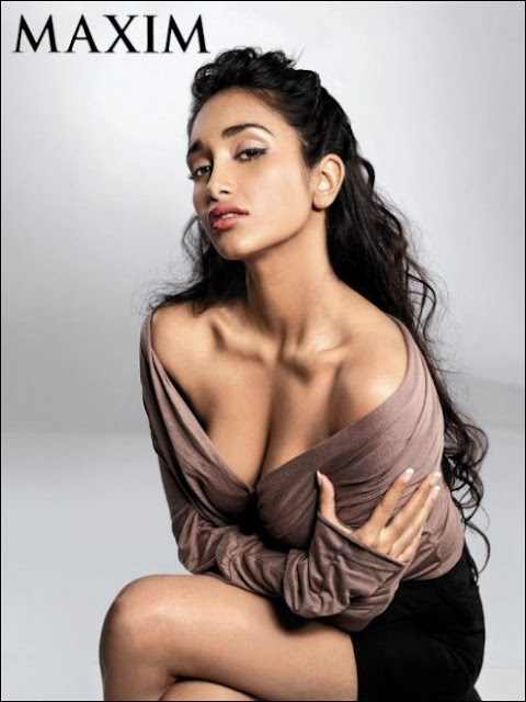 jiah khan deep cleavage for maxim