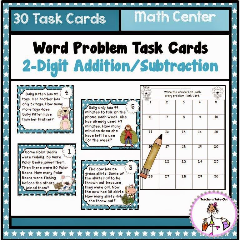 Word Problem Task Cards using 2 Digit Addition/Subtraction