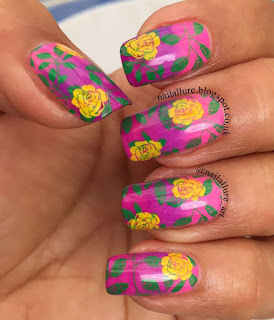 UberChic 1-02 Stamping on Pink & Purple Gradient Nails