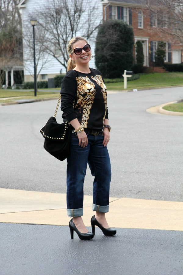 Black Leopard Shirt - Forever 21, AG Piper Crops - Anthropologie, Studded Suede City Bag - Zara, Me Too Pumps, Bracelets - TJ Maxx, J Crew, and from my Jewelry Box
