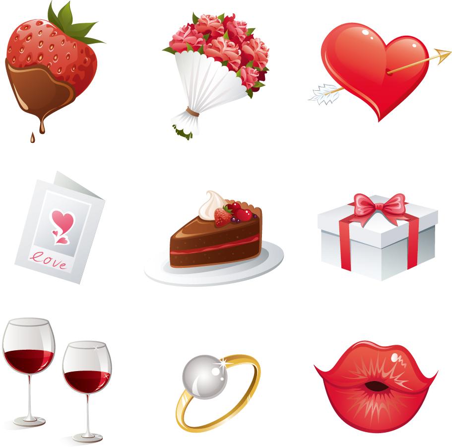 バレンタインデーのハート素材 Heart valentine day elements vector イラスト素材2