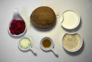 Arroz al horno con leche de coco y frambuesas - ingredientes