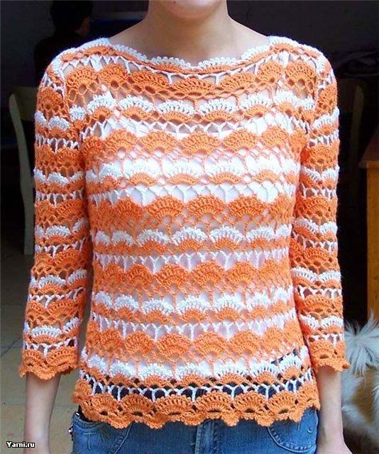 Patrón de Exquisita blusa en dos colores al crochet